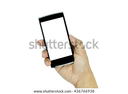 Hand holding modern smart-phone with blank screen isolated on white background. #436766938