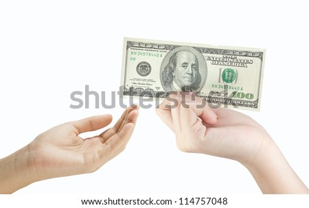 hand holding money dollars and giving to the other isolated on white background