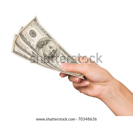 Hand holding money dollars isolated on white background