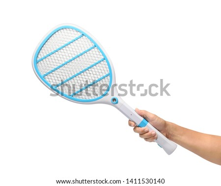Hand holding Mosquito killer electric tennis bat, Handheld racket insect fly bug wasp swatter, isolated on white background. #1411530140