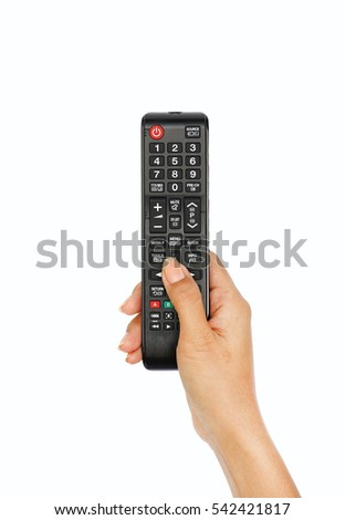 Hand holding Multimedia remote control on white background