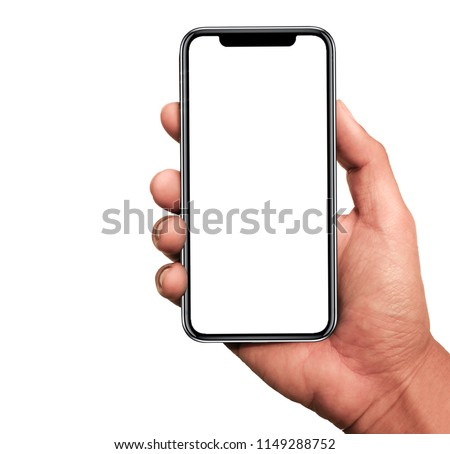 Hand holding, New version of black slim smartphone similar to iphone x with blank white screen from Apple generation 10 , Front mockup model similar to iPhonex ,Digital economy technology #1149288752