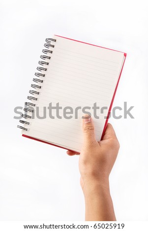 Hand holding note book