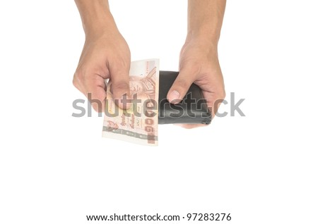 Hand holding old wallet with money isolated on white background