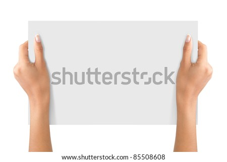 hand holding on a white blank paper isolated on white