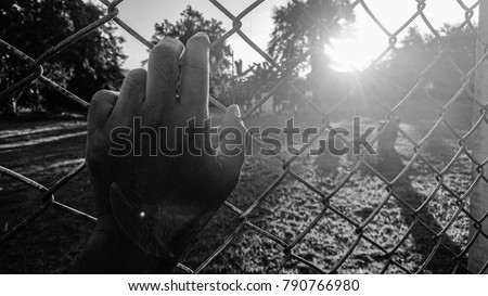 Hand holding on net fence. Black and white  #790766980