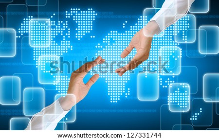 hand holding on technology background