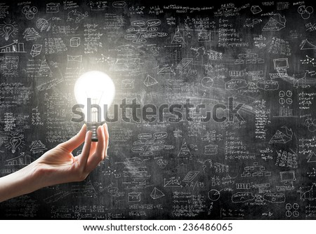 hand holding or showing a light bulb in front of  business idea concept on wall backboard blackground