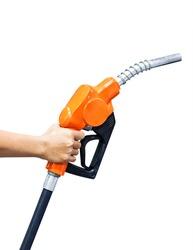 Hand holding orange fuel nozzle isolated on white background
