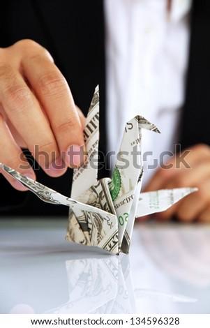 hand holding origami paper cranes, money concept