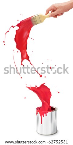 hand holding paintbrush creating red paint splash from its bucket - stock photo