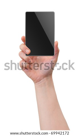 Hand holding palm-sized gadget device, blank screen with copy-space