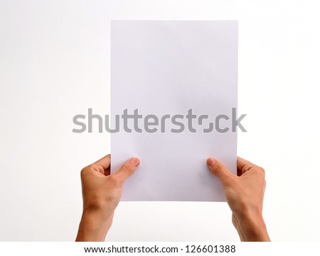 hand holding paper on a white background