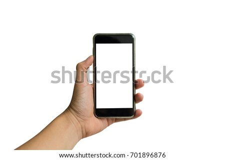 Hand holding phone isolate with path  #701896876