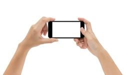 hand holding phone isolated on white background, mock-up smartphone matte black color