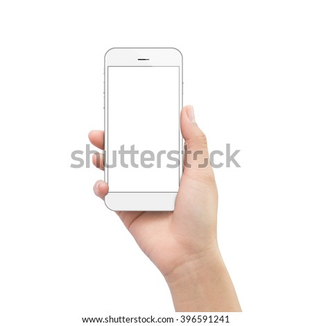 hand holding phone isolated on white clipping path inside #396591241