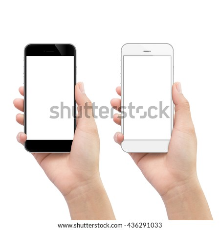 hand holding phone isolated on white clipping path inside #436291033