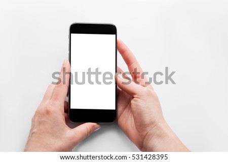hand holding phone isolated on white clipping path inside   #531428395