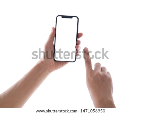 hand holding phone mobile and touching screen isolated on white background