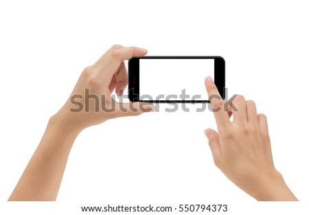 Shutterstock hand holding phone mobile and touching screen isolated on white background, mock-up smartphone matte black color