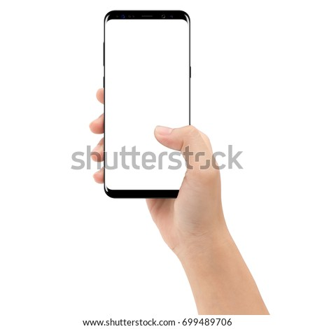 hand holding phone mobile isolated on white background clipping path inside #699489706