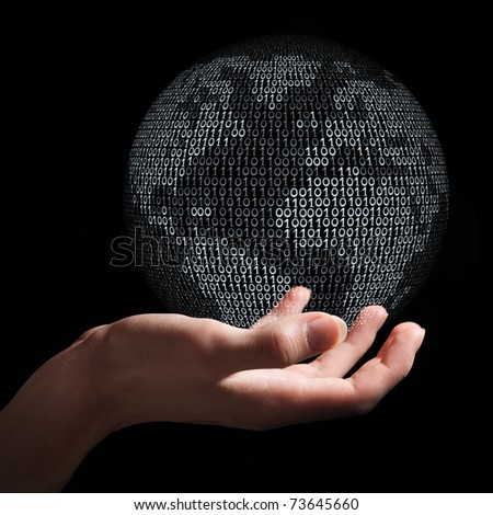 Hand holding planet Earth made from binary code as symbol of digital age, communication and globalization.