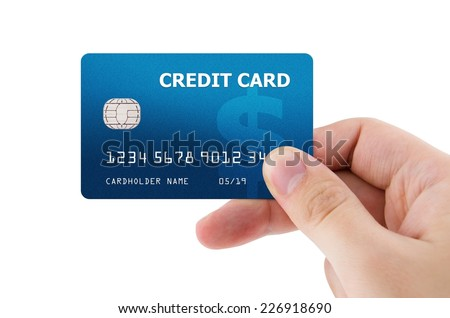 Hand holding plastic credit card #226918690