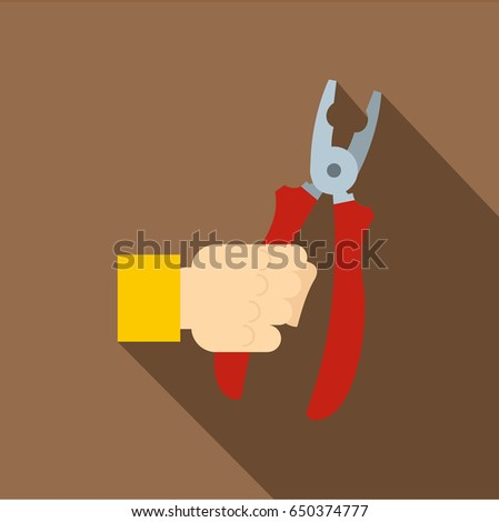 Hand holding pliers with red handles icon. Flat illustration of hand holding pliers with red handles  icon for web on coffee background