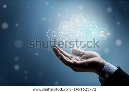 Hand holding plus sign virtual means to offer positive thing (like benefits, personal development, social network, health insurance) with copy space          - Image Photo stock ©