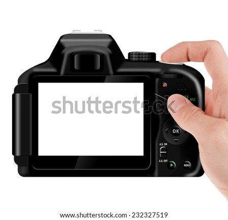 Hand holding professional, digital SLR camera (dSLR) with empty LCD screen (taking pictures) isolated on white