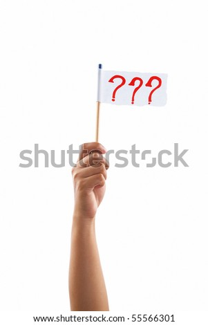 Hand holding question marks flag, shot against white background