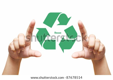 Hand holding Recycling symbol,hand hold recycle sign