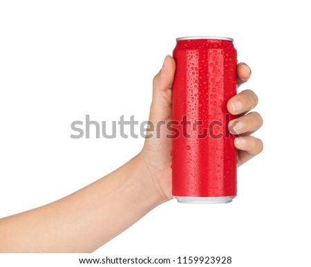 hand holding red aluminum cans with fresh water drops isolated from white background.