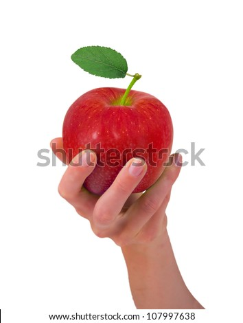 Hand holding red apple isolated on white