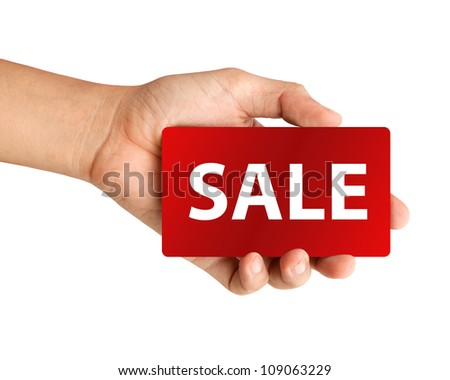 "hand holding red paper with ""SALE"" word Isolated on white background"