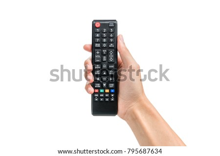 Hand holding remote control isolated on white background