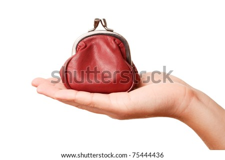 Hand holding retro styled money pouch, isolated on white background
