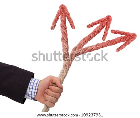 Hand holding rope with red arrows, making choice concept