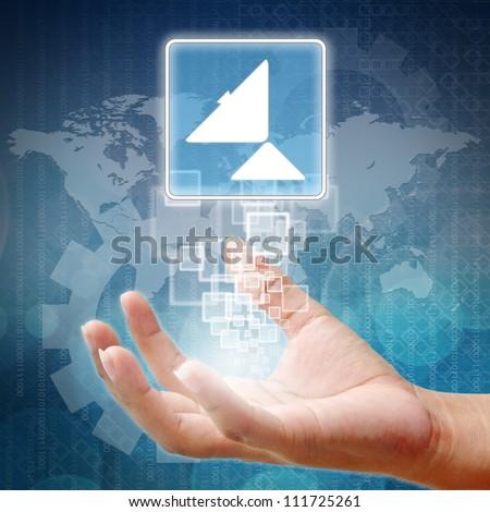 Hand holding Satellite dish icon