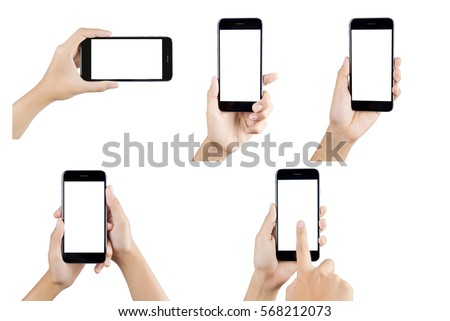 Hand holding smart phone blank screen. Woman hand holding smartphone isolated on white background. Smart phone white screen