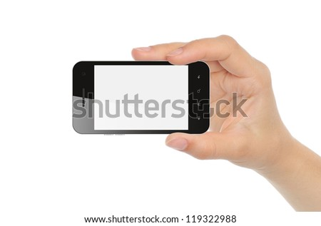 Hand holding smart phone isolated on white