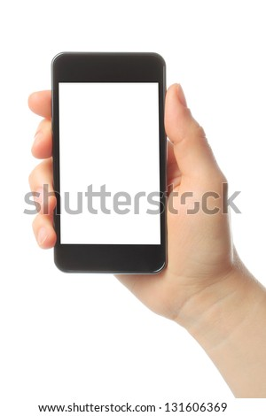 Hand holding smart phone isolated on white background
