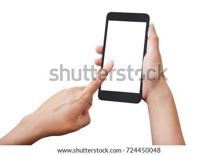 Hand holding smart phone isolated on white background #724450048