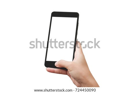 Hand holding smart phone isolated on white background #724450090