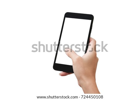 Hand holding smart phone isolated on white background #724450108