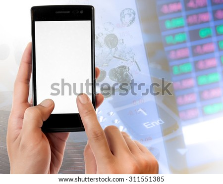 Hand holding smart phone on Money and the graph them,online banking make money concept.