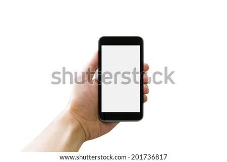 Hand holding smart phone on white background #201736817