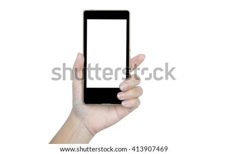 Hand holding smart phone on white background #413907469
