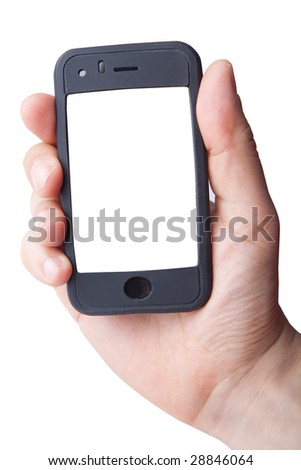 Hand holding smart phone on white (LCD screen has clipping path)