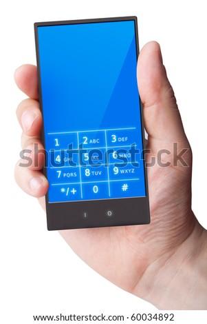 Hand holding smart phone on white (original design)